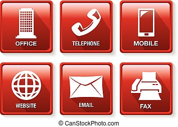 Red and White Business Contact Method Icon Button Set - Set ...