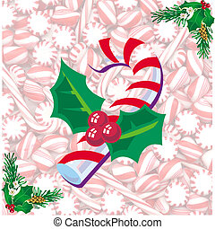 Red and white candy - Candy cane and mint striped candy.