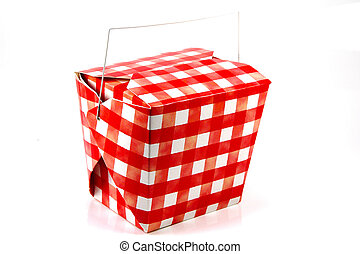 Red and White Carton - Chinese Food Style Carton With Red...