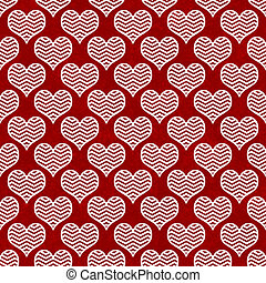 Red and White Chevron Hearts Pattern Repeat Background