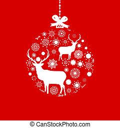Red and White Christmas ball. EPS 8