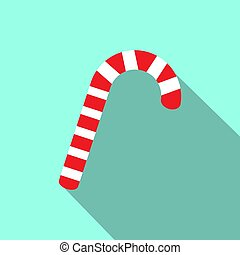 Red and white christmas candy cane icon