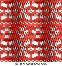 Red and White Christmas Festive Sweater Fairisle Design. Knitting Pattern for Winter Designs