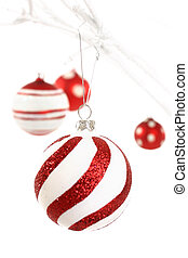 Red and white christmas - Focus on first foreground hanging ...