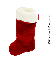 Red and White Christmas stocking isolated on white ...