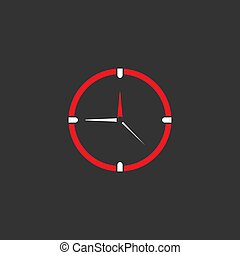 red and white clock. Flat icon isolated on black background.