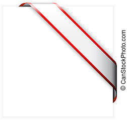 Red and white colorful corner ribbon - you can write some...