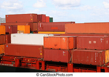 Red and White Containers - Different colored frieght...