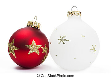 red and white dull christmas balls on white background