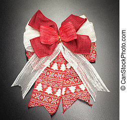 Red and white fabric of gift bow