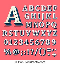 Red and white font on black background. The alphabet contains letters