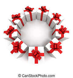 Red and white gift boxes circle