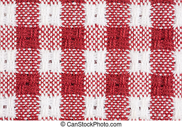 Red and White Gingham Checkered Tablecloth Background
