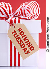 Red and white Giving Tuesday gift. - Red and white gift ...