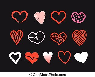 Red and white Hand drawn hearts vector collection on black background. Design elements for