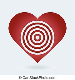 Red and white heart target icon. Love aim concept.