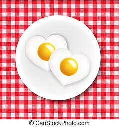 Red And White Ingham Tablecloth With Plate And Fried Egg Heart