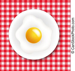 Red And White Ingham Tablecloth With Plate And Fried Egg