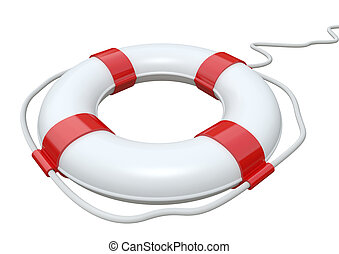 Red and white life belt isolated on white background with ...