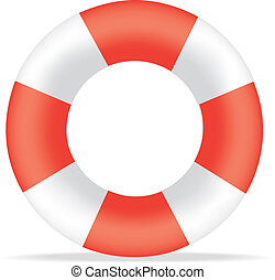 red and white life bouy - Illustration of a striped red and ...