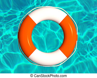 Red and white lifebuoy in water illustration