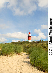 Lighthouse in landscape with dunes