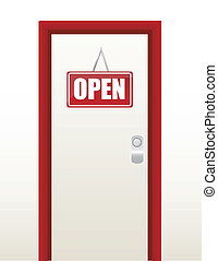 red and white open sign