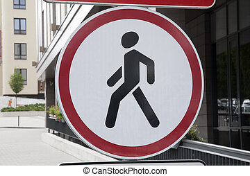Red and White Pedestrian Traffic Sign