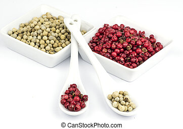 Red and white peppercorns