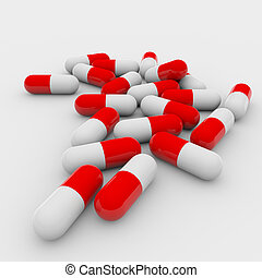 Red and white pills - A lot of red and white pills on white...