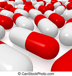 Red and white pills. 3d rendered image