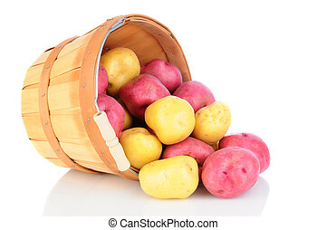 Red and White Potatoes Basket Spill