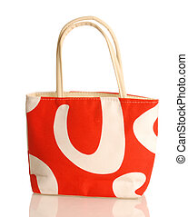 purse - red and white purse or beach bag isolated on white ...