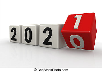Red and white puzzle of year 2021, 3D rendering