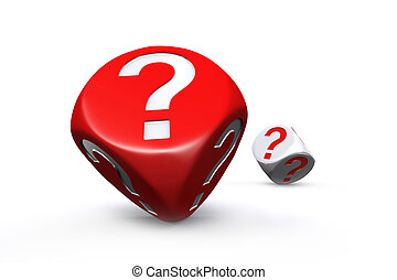 Red and white question mark dices