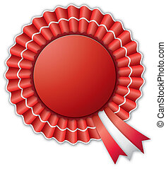 Red and White Rosette - Red and white blank rosette isolated...