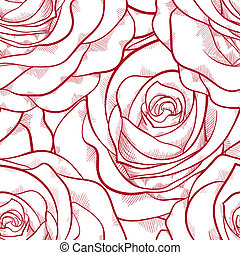 red and white seamless pattern in roses with contours.