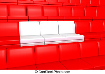 Red and white seats
