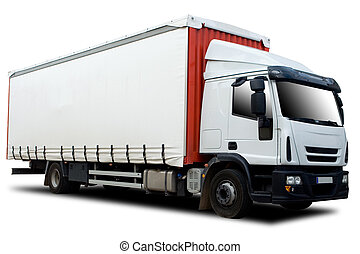 Red and White Semi Truck Isolated