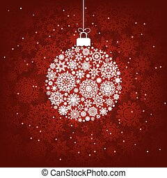 Red and white snowflakes. EPS 8