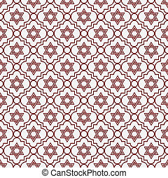 Red and White Star of David Repeat Pattern Background that...