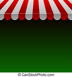 Red and White Strip Shop Awning with Space for Text.Vector