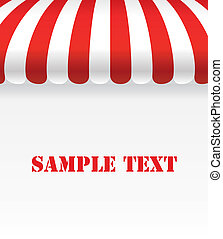 Red and white strip shop awning with space - Vector Design EPS10