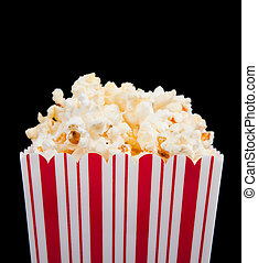 popcorn container on a black background