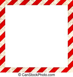 Red and white stripes with grunge texture, warning industrial square frame