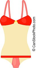 Red and white swimsuit icon, cartoon style