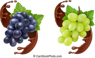 Red and white table grapes in chocolate splash 3d vector icon set