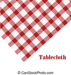 Red and white tablecloth on white