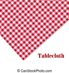 Red and white tablecloth picnic on white background