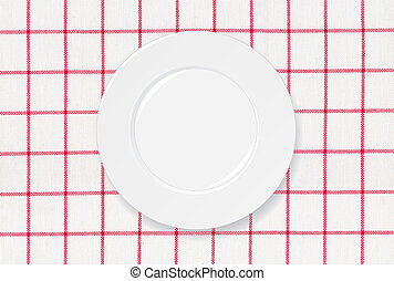 Red and white tablecloth - White plate on red and white...